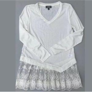 NEIMAN MARCUS Cream Ivory Tunic Sweater Lace